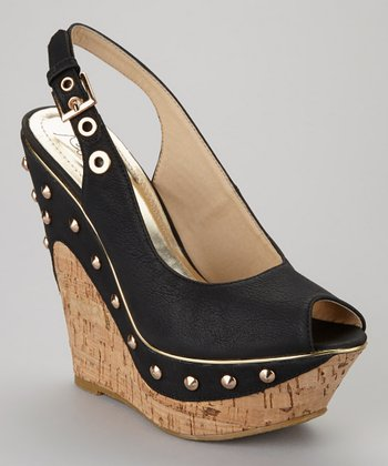 Black Beverly-02 Peep-Toe Wedge