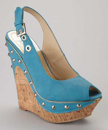 Blue Beverly-02 Peep-Toe Wedge