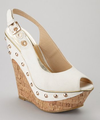 White Beverly-02 Peep-Toe Wedge