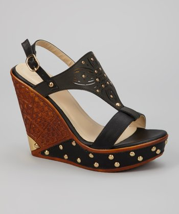 Black Dolores T-Strap Wedge