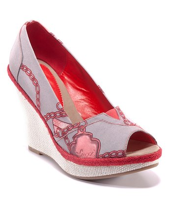 Gray & Red Carina Peep-Toe Wedge
