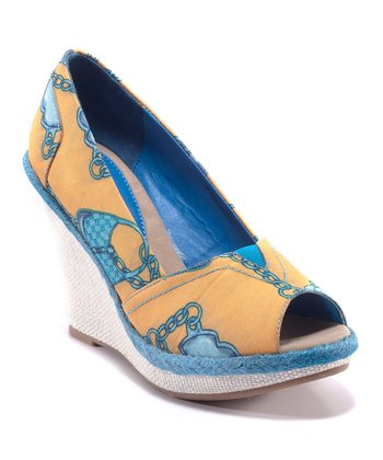 Mustard & Blue Carina Peep-Toe Wedge