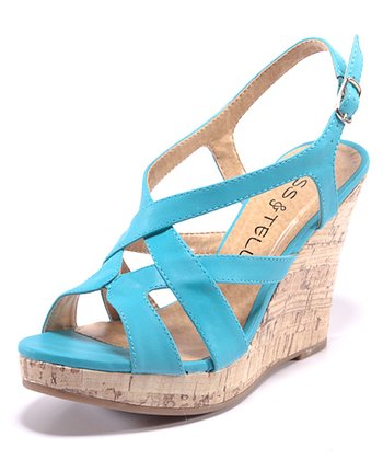 Blue Carina Wedge Sandal