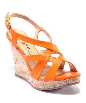 Orange Carina Wedge Sandal