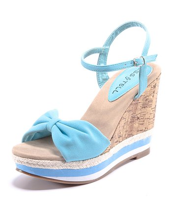 Light Blue & Beige Eliana Wedge