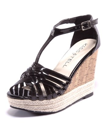 Black & Beige Eliana T-Strap Wedge