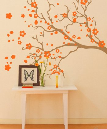 Light Brown & Persimmon Watsonia Branch Wall Decal