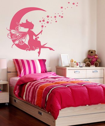 Pink Moon Fairy Wall Decal