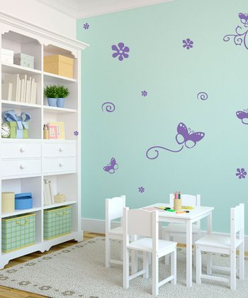 Lavender Butterfly Bunch Wall Decal Set
