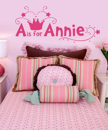 Dark Pink Crown Personalized Wall Decal Set