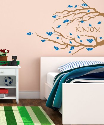 Brown & Blue Branch & Leaves Personalized Wall Decal Set