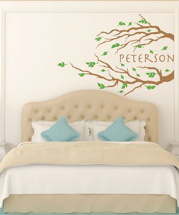 Brown & Green Branch & Leaves Personalized Wall Decal Set