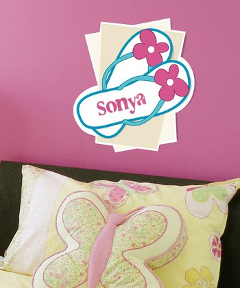 Pink & Blue Personalized Flip-Flop Wall Art