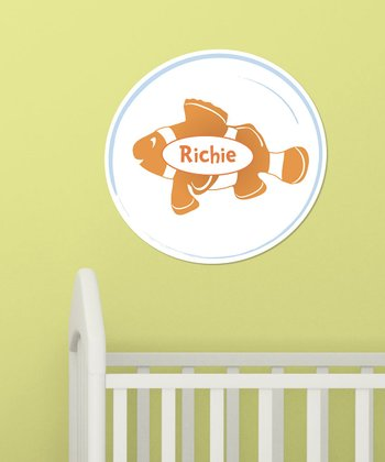 Orange Personalized Clown Fish Wall Art