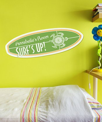 Green & Orange Personalized 'Surf's Up' Wall Art