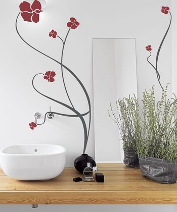 Dark Red Blossom Path Wall Decal Set