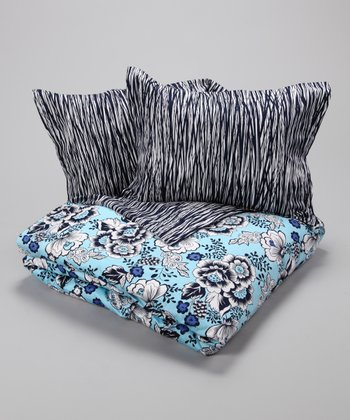 Ice Blue & Navy Jazzy Duvet Cover Set