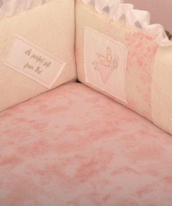 Pink 'Heaven Sent' Fitted Crib Sheet