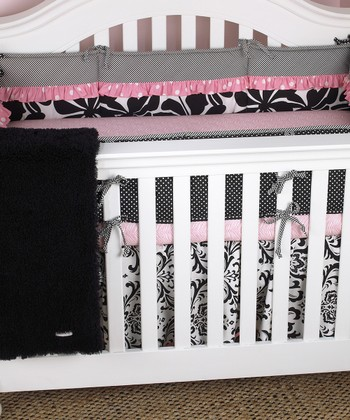 Pink & Black Crib Bedding Set