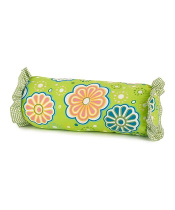 Green Flower Power Bolster Pillow