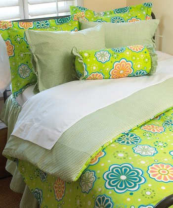 Green Flower Power Twin Comforter Set