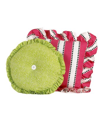 Pink & Green Hottsie Dottsie Throw Pillow Set
