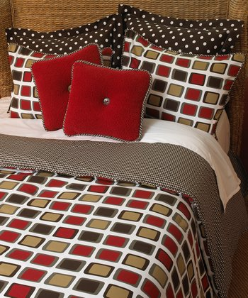Brown & Red Houndstooth Comforter Set