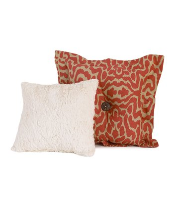 Cream & Ecru Raspberry Dot Throw Pillow Set