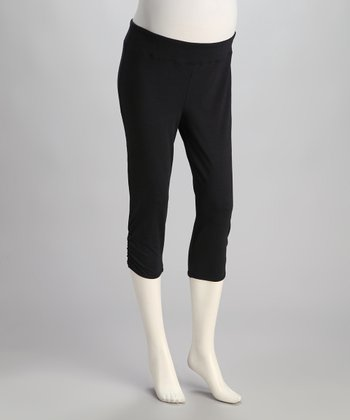 Black Ruched Under-Belly Maternity Capri Pants