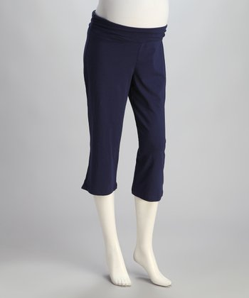 Blue Ocean Under-Belly Maternity Capri Pants