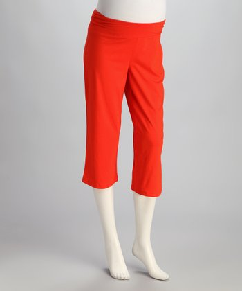 Tomato Under-Belly Maternity Capri Pants