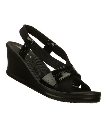 Black Longstems Slingback Wedge