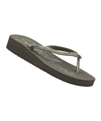 Pewter Rhinestone Beach Read Flip-Flop