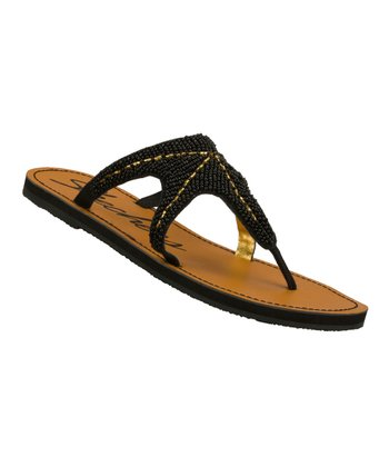 Black Beaded Beachcombers Sandal
