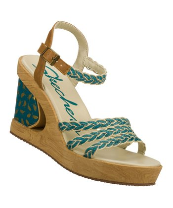 Blue Peek A Boo Wedge Sandal