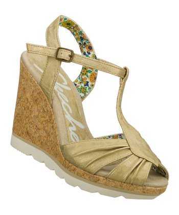 Gold Cutting Edge T-Strap Wedge