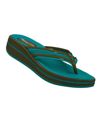 Green & Blue Caption Upgrades Sandal