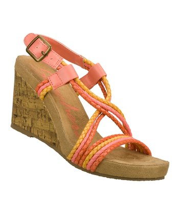 Coral & Yellow All Tied Up Wedge Sandal