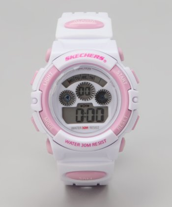 Pink & White Small Round Digital Watch - Women
