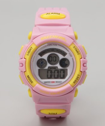Yellow & Pink Small Round Digital Watch - Women