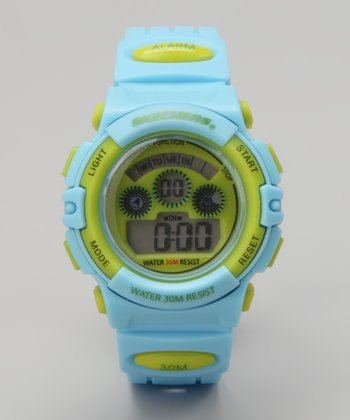 Lime & Light Blue Small Round Digital Watch - Women