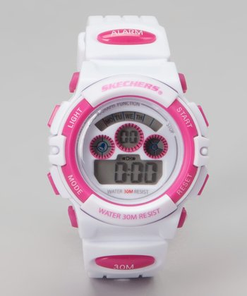 Hot Pink & White Small Round Digital Watch - Women