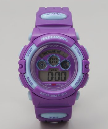 Light Blue & Purple Small Round Digital Watch - Women