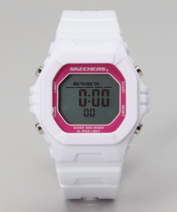 Hot Pink & White Small Square Digital Watch - Women