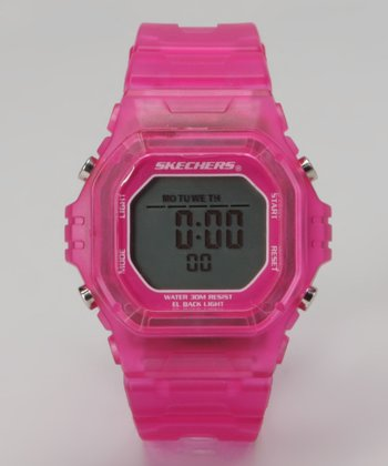 Hot Pink Jelly Small Square Digital Watch - Women