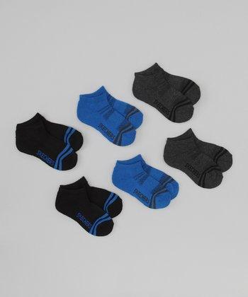 Black & Purple Terry Low Socks Set