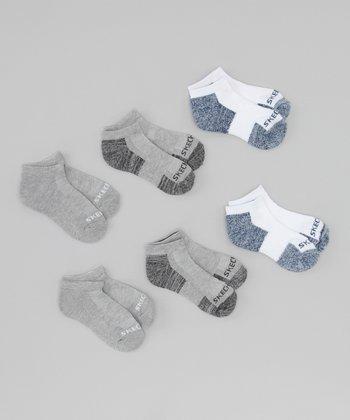 Gray & Blue Terry Low Socks Set