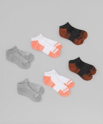 Orange & Gray Terry Low Socks Set