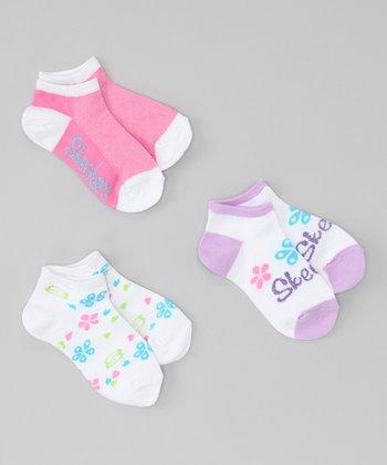 Pink Fashion No-Show Socks Set