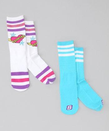 White & Blue Heart Tube Socks Set